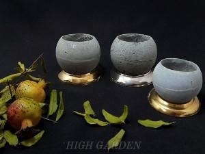 گلدان بتنی با زیرگلدانی استیل طلایی-تصویر 3