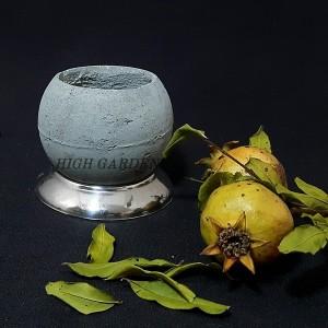 گلدان بتنی با زیرگلدانی استیل-تصویر 2