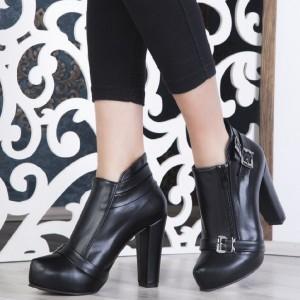 کفش نیم بوت پاشنه بلند شیک چرم صنعتیBa