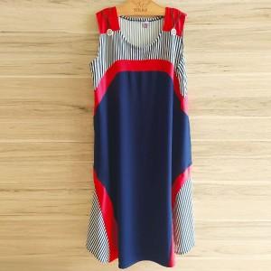 پیراهن یقه گرد آستین حلقه طرح دار 4196-تصویر 2