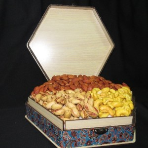 جعبه آجیل و خشکبار جعبه پذیرایی جعبه چوبی مدل ترمه کد LB013-تصویر 3