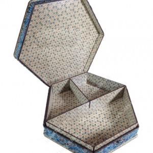جعبه آجیل و خشکبار جعبه پذیرایی جعبه چوبی مدل ترمه و خاتم کد LB012-تصویر 2