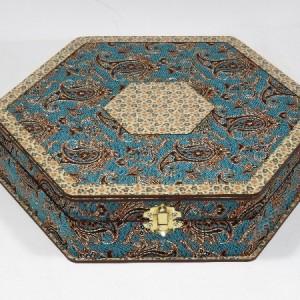 جعبه آجیل و خشکبار جعبه پذیرایی جعبه چوبی مدل ترمه و خاتم کد LB012