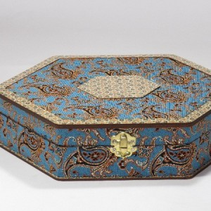 جعبه آجیل و خشکبار جعبه پذیرایی جعبه چوبی مدل ترمه و خاتم کد LB012-تصویر 3