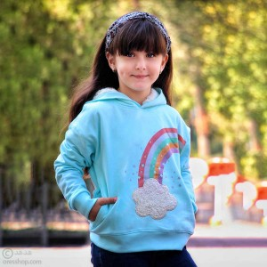 هودی دخترانه رنگین کمان کلاه خزدار-تصویر 2