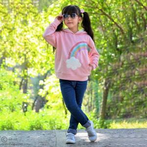 هودی دخترانه رنگین کمان کلاه خزدار-تصویر 4