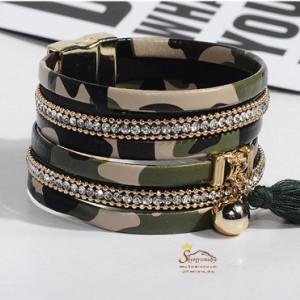 دستبند چند رشته سبز پلنگی با آویز ریش ریش BNG297G0-تصویر 4