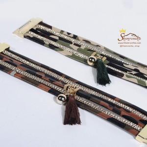 دستبند چند رشته سبز پلنگی با آویز ریش ریش BNG297G0-تصویر 3