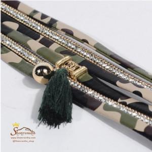 دستبند چند رشته سبز پلنگی با آویز ریش ریش BNG297G0-تصویر 5