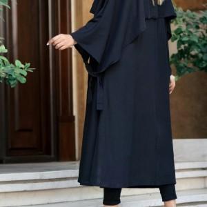 مانتو زنانه کرپ لعبا مدل مانتو شنلدار-تصویر 2