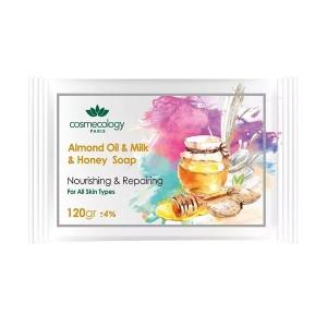 صابون مغذی و ترمیم کننده حاوی روغن بادام و شیر و عسل مناسب انواع پوست