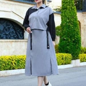 مانتو زنانه کتان مدل دوتیکه کت و پیراهن-تصویر 3