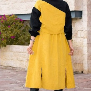 مانتو زنانه کتان مدل دوتیکه کت و پیراهن-تصویر 2