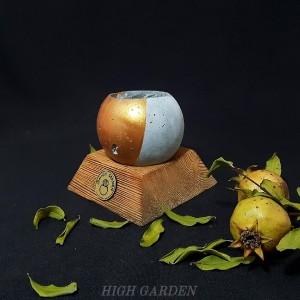 گلدان بتنی  با زیرگلدانی چوبی-تصویر 3