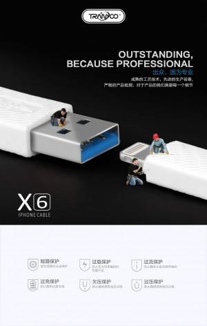 کابل شارژر ایفون TRANYOO Cable LIGHTNING X6-تصویر 5