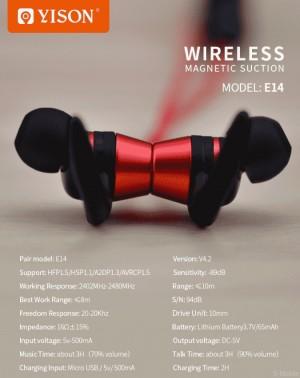 هندزفری بلوتوث وایسون Yison E14 Wireless Magnetic Earphone-تصویر 4