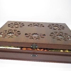 جعبه آجیل و خشکبار جعبه پذیرایی جعبه چوبی مدل گل کد LB016-تصویر 5