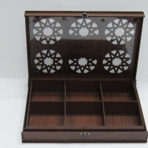 جعبه آجیل و خشکبار جعبه پذیرایی جعبه چوبی مدل گل کد LB016-تصویر 2