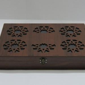 جعبه آجیل و خشکبار جعبه پذیرایی جعبه چوبی مدل گل کد LB016