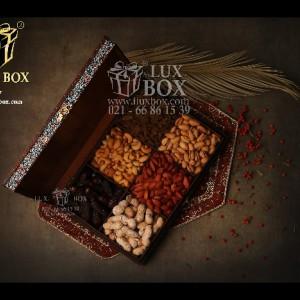 جعبه آجیل و خشکبار جعبه دمنوش پذیرایی جعبه چوبی مدل ترمه کد LB017-تصویر 2