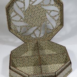 جعبه آجیل و خشکبار جعبه پذیرایی جعبه چوبی چند ضلعی مدل خاتم کد LB021-تصویر 2