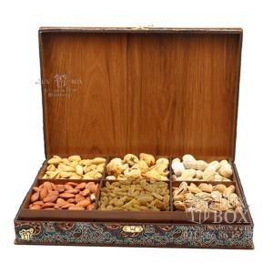 جعبه آجیل و خشکبار جعبه دمنوش پذیرایی جعبه چوبی مدل ترمه کد LB017-تصویر 3