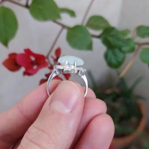 انگشتر نقره زنانه با نگین آکوامارین-تصویر 5