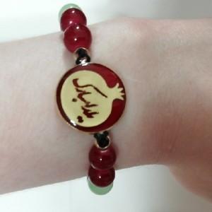 دستبند مهره ای یلدا با پلاک برنجی رنگ ثابت یلدا مبارک-تصویر 5