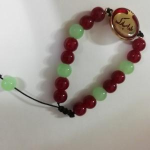 دستبند مهره ای یلدا با پلاک برنجی رنگ ثابت یلدا مبارک-تصویر 2