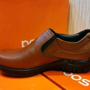 کفش چرم مصنوعی قهوه ای بدون بند مردانه آقای چرم-تصویر 2