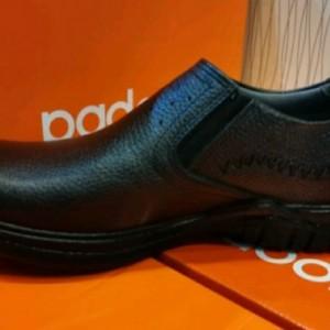 کفش چرم مصنوعی مشکی بدون بند مردانه آقای چرم-تصویر 2