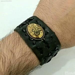 دستبند چرم اصل با نگین حدید صینی ع علی طلاکوبی-تصویر 3