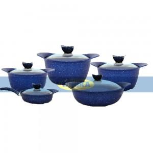 سرویس قابلمه 10 پارچه ظافر مدل Forged-Blue
