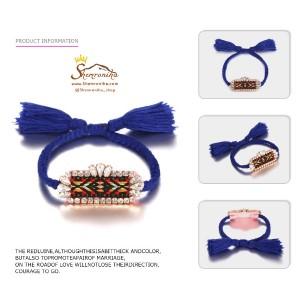 دستبند بافت آویز منگوله آبی BNG302B0