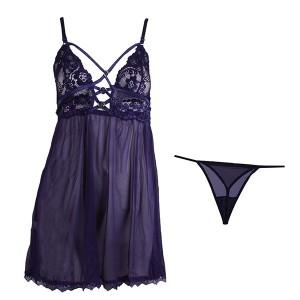 لباس خواب توری بندی زنانه بسیارشیک سرمه ای