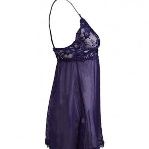 لباس خواب توری بندی زنانه بسیارشیک سرمه ای-تصویر 2