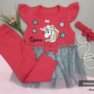 ست تیشرت شلوار و تل دخترانه طرح یونیکورن-تصویر 3