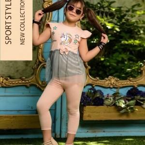 ست تیشرت شلوار و تل دخترانه طرح یونیکورن