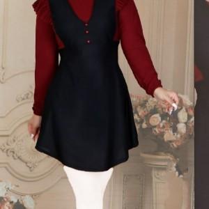مانتو زنانه کرپ لعبا مدل تونیک مانتو آستین-تصویر 3