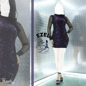 پیراهن زنانه مخمل مدل تونیک مجلسی ایزل-تصویر 4