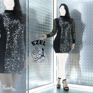 پیراهن زنانه مخمل مدل تونیک مجلسی ایزل-تصویر 2