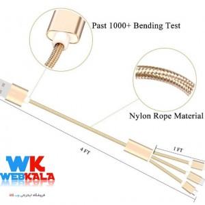 کابل تبدیل USB به microUSB / لایتنینگ / USB-C سمگپرس مدل S85 طول 1.2 م-تصویر 3