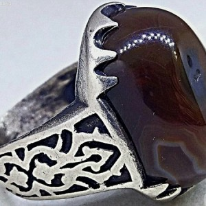 انگشتر قلمکاری جزع سلیمانی فاخر-تصویر 5
