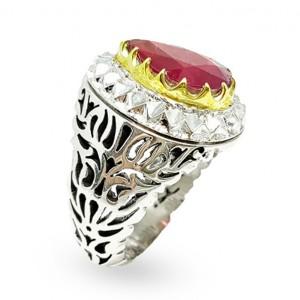 انگشتر مردانه یاقوت سرخ تراش اشکی کد R237