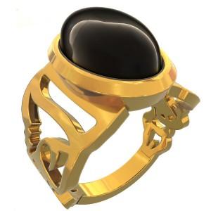 انگشتر نقره اسم مهسا با سنگ اونیکس-تصویر 3