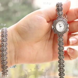 ست ساعت و دستبند لوکس نقره