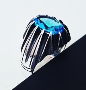 انگشتر مردانه با نگین انیکس آبی
