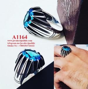 انگشتر مردانه با نگین انیکس آبی-تصویر 2