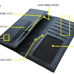 کیف پول و موبایل چرم طبیعی گوساله مردانه طبله دار-تصویر 3
