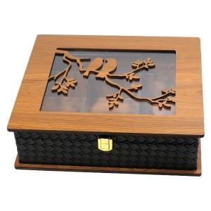 جعبه پذیرایی جعبه آجیل جعبه دمنوش مدل پرنده لوکس باکس کد LB64-تصویر 3